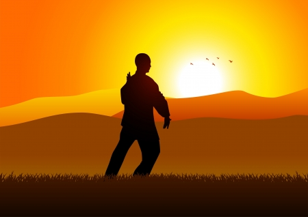 serenity: Silhouette illustration of a man figure doing taichi