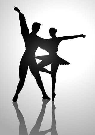 Silhouette Illustration of a couple ballet dancing Stock Vector - 19535897