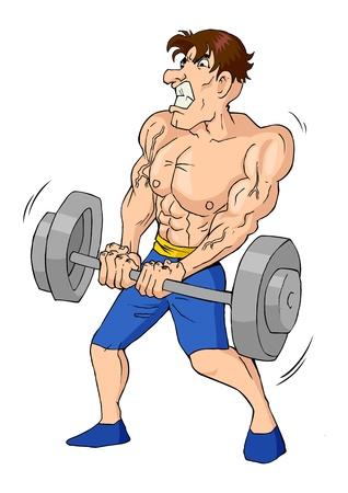 Karikatuur van een gespierde mannelijke figuur doet gewichtheffen