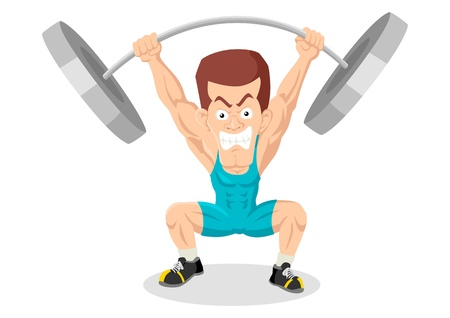 weightlifting: Caricature illustration of a weightlifter Illustration