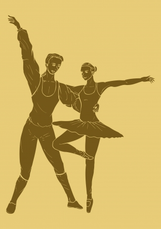 A couple ballet dancing in carved style illustration Vector