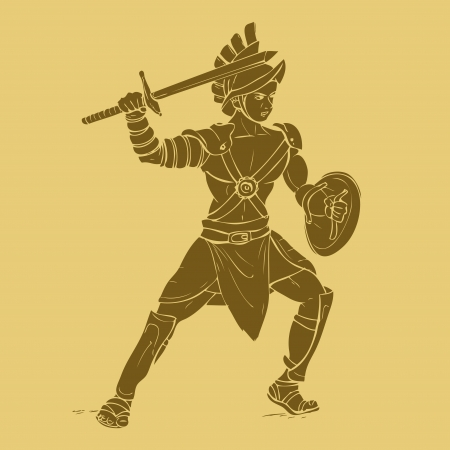roman soldier: Gladiator in carved style illustration