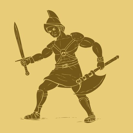 ancient warrior: Gladiator in carved style illustration