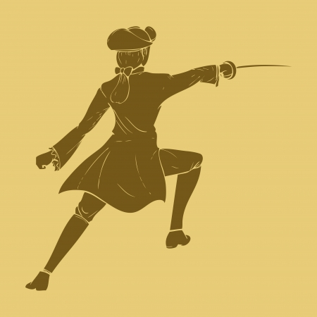 17th: 17th century swordsman in carved style illustration