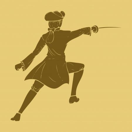 mosquetero: Espadachín del siglo 17 en estilo de ilustración tallada