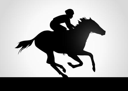 corse di cavalli: Silhouette illustrazione di un fantino in corsa di cavalli