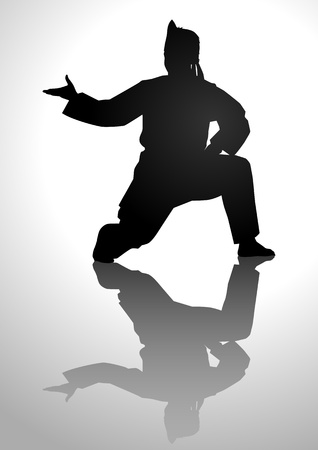Silhouette illustration of a man in pencak silat stance Vector