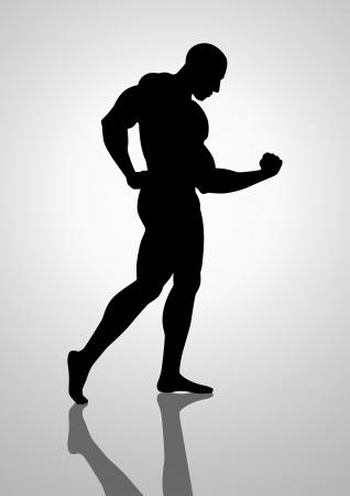 Silhouette illustration of a bodybuilder Vector