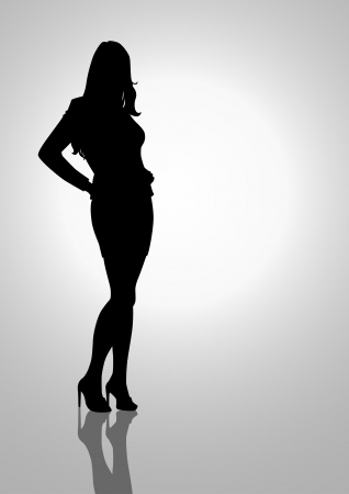 formal clothing: Silhouette illustration of a female figure