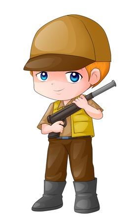 kiddies: Cute cartoon illustration of a male figure holding a rifle