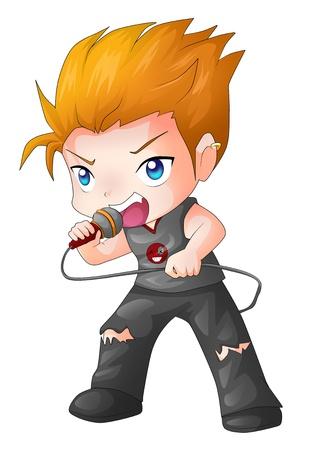 Cartoon Illustration eines Rock-Sängerin Standard-Bild