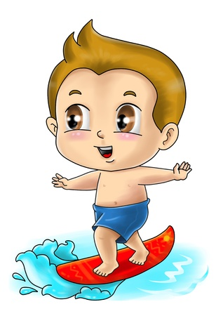cartoon surfing: Cute cartoon illustration of a surfer Stock Photo