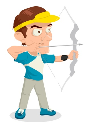 bowman: Caricature illustration of an archer aiming with bow Illustration