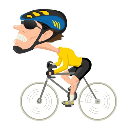 Caricatura ilustración de un atleta bici