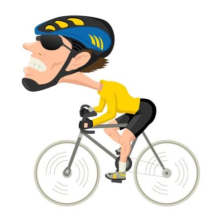 course cycliste: Caricature illustration d'un athl�te de v�lo