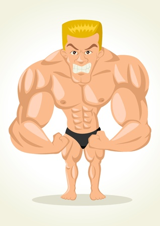 muscular men: Caricature illustration of a bodybuilder Illustration