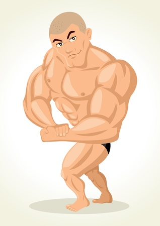 builder symbol: Caricature illustration of a bodybuilder Illustration