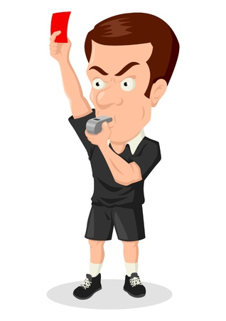 futbol soccer dibujos: Caricatura ilustraci�n de un �rbitro de f�tbol muestra la tarjeta roja Vectores