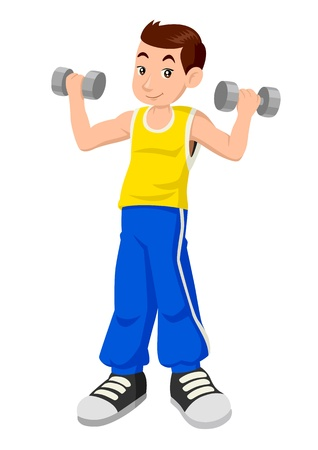 strong boy: Cartoon illustration of a boy exercising using dumbbells