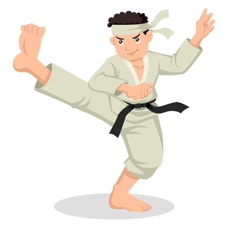 karate kick: Cartoon illustration of karate boy