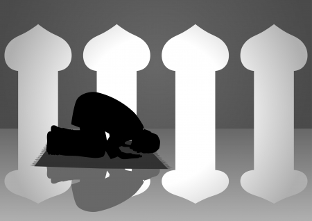 islamic prayer: Silhouette illustration of a moslem man praying in the mosque Illustration