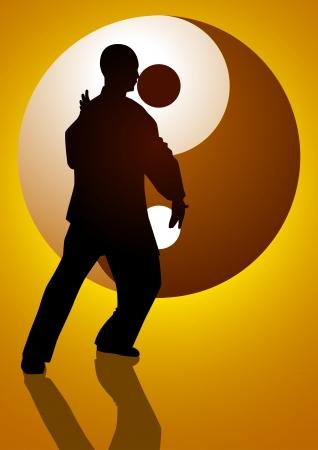 yang yin: Ilustraci�n de la silueta de una figura de hombre haciendo taichi con el s�mbolo de Yin Yang como el fondo Vectores