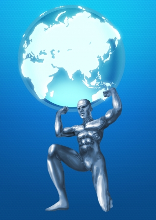 titan: A chrome man lifting up the Globes