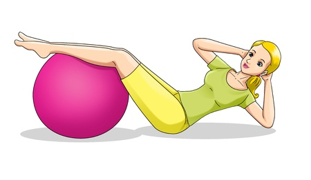 working out: Cartoon illustration of a woman exercising using fitness ball
