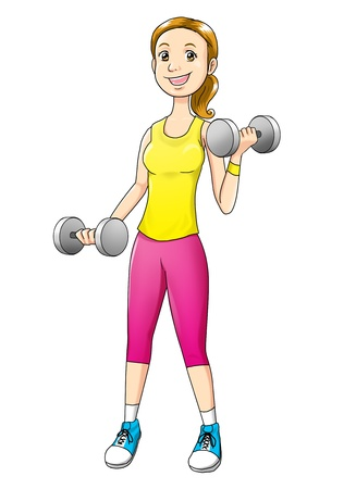 Cartoon illustration of a woman exercising with dumbbells Stock Photo