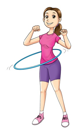 Cartoon illustration of a woman exercising Stock Illustration - 19983134
