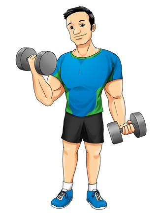 man working out: Cartoon illustration of a man exercising with dumbbells