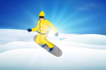 boarder: Illustration of a snow boarder Stock Photo