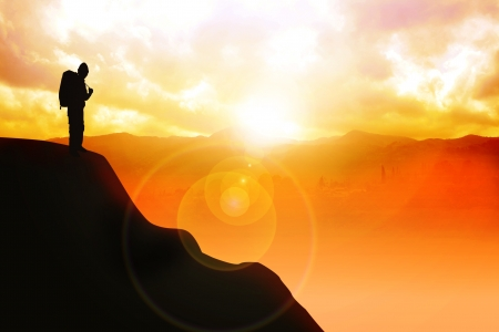 Silhouette illustration of a man with backpack on top of the mountain