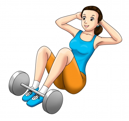 Cartoon illustration of a woman doing sit up