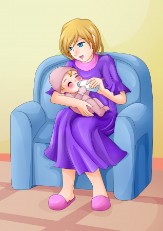 Cartoon illustration of a mother feeding her baby