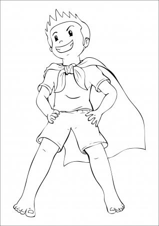 Ilustración de contorno de un niño jugando a un superhéroe