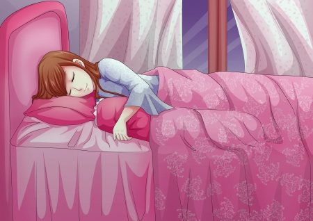 manga girl: Cartoon illustration of a woman having a sleep Stock Photo