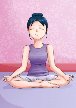Cartoon illustration of a meditating young woman illustration