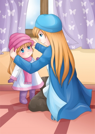Cartoon illustration of a mother put on a hat to her daughter