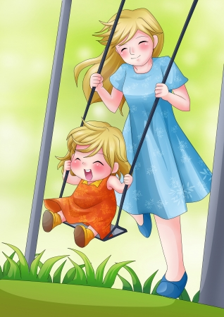 beautiful anime: Cartoon illustration of a mother playing in the park with her child