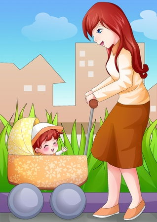 Cartoon illustration of a mother walking in the park with her baby illustration
