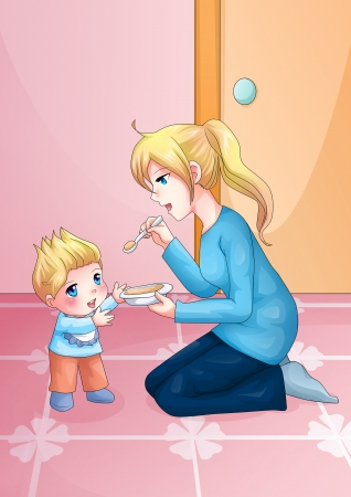 Cartoon illustration of a mother feeding her baby illustration