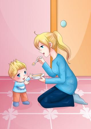 manga style: Cartoon illustration of a mother feeding her baby