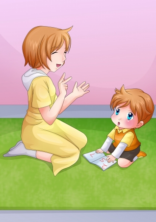 Cartoon illustration of a mother reading a book with her child illustration