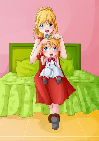 beautiful anime: Cartoon illustration of a mother combing her child Stock Photo