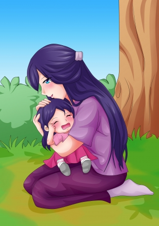 anime young: Cartoon illustration of a mother embracing her crying child Stock Photo