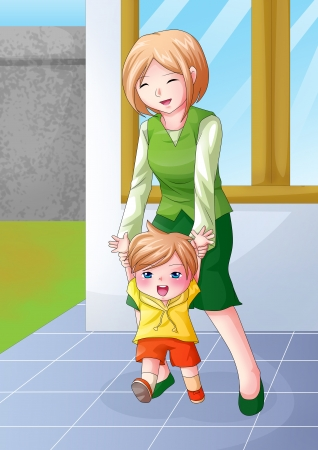 mom and son: Cartoon illustration of a mother guiding her child to walk
