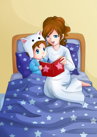 child bedroom: Cartoon illustration of a mother storytelling for her child before sleep