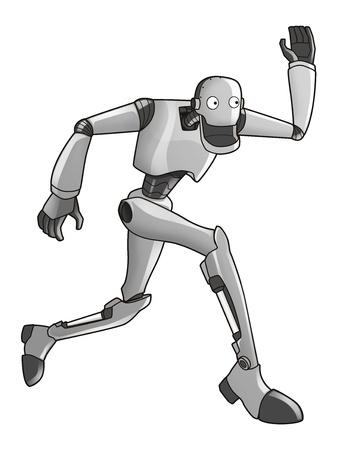 alien clipart: Cartoon illustration of a robot