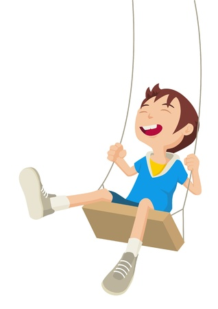 Cartoon illustration of a boy playing on a swing